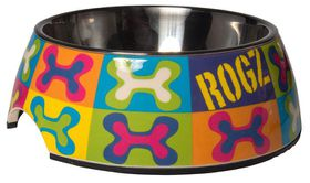 Rogz - 2-in-1 Large 700ml Bubble Dog Bowl - Pop Art Design