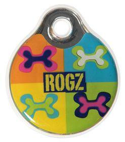 Rogz ID Tagz Small 27mm Self-Customisable Instant Resin Tag - Pop Art Design