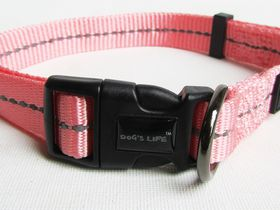 Dog's Life - Reflective Supersoft Webbing Collar Pink - Medium