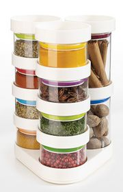 Joseph Joseph Spice Store Jar Set with Carousel - White