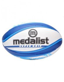 Medalist Super Grip Rugby Ball Size 4 - Blue/White