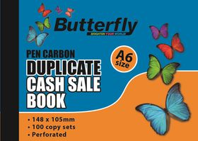 Butterfly A6 Duplicate Book - Cash Sale 100 Sheets