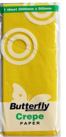 Butterfly Crepe Paper 1 Sheet - Yellow (C46)