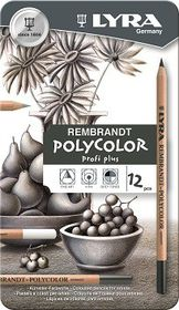 Lyra Rembrandt Polycolor Pencils - 12 Grey Tones in Metal Box