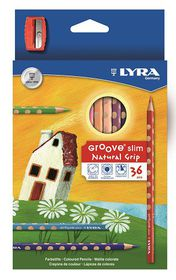 Lyra Groove Slim 36 Colour Pencils + Sharpener