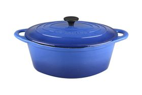Gourmand - 7 Litre Oval Cast Iron Casserole - Blue