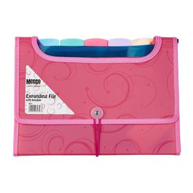 Meeco 6 Division Expanding File with Window - Pink
