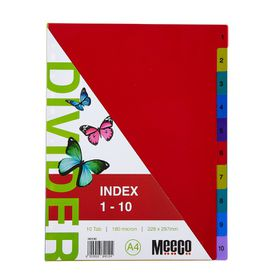 Meeco Executive A4 10 Tab (1-10) Multi Colour Indexes