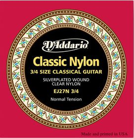 D'Addario EJ27N 3/4 Student Nylon Fractional Normal Tension Classical Guitar Strings