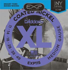 D'Addario EXP115 Coated Nickel Wound Medium/Blues/Jazz Electric Guitar Strings - 11-49