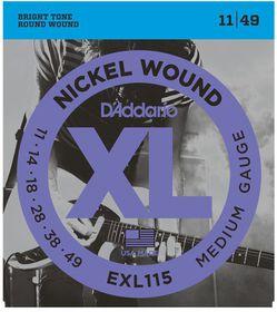 D'Addario EXL115 Nickel Wound Medium/Blues-Jazz Rock  Electric Guitar Strings - 11-49