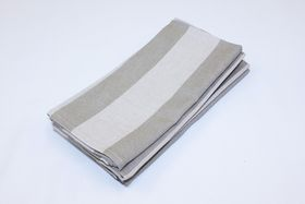 Balducci Earthstone Napkins Set Of 6 - V Stripe & Khaki