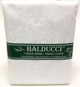Balducci - China Swirl White Tablecloth - 8 Seater