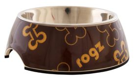 Rogz Lapz 2-in-1 Brown Bones Bubble Bowl - Medium