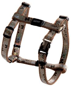 Rogz Lapz Trendy Brown Bones Dog H-Harness - Small