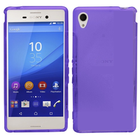 TPU Gel Cover Case for Sony M4 Aqua - Transparent Purple Frosted
