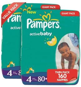 Pampers - Active Baby Nappies - Size 4 - Giant Twin Pack (2 x 80 count)