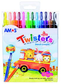 Amos 12 Twisters Rectractable Wax Crayons