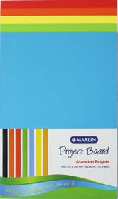 Marlin A4 Project Board 160gsm 100's - Assorted Bright