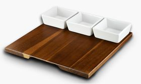 Russell Hobbs Classique Metropolitan Bamboo Board with 3 Square Snack Bowls