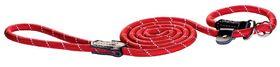 Rogz Rope Large 12mm 1.8m Long Moxon Dog Rope Lead - Red Reflective