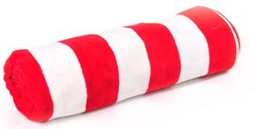 Terry Lustre Beach Towel Velour 450gsm - White & Red Stripe