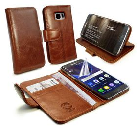Tuff-Luv Alston Craig GenuineLeatherWallet Case and Cover for the Samsung Galaxy S7 Edge - Brown