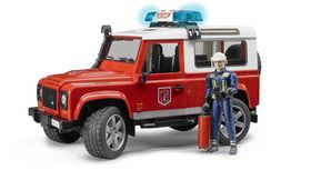 Bruder Land Rover Defender Wagon Fire Department vehicle with Fireman