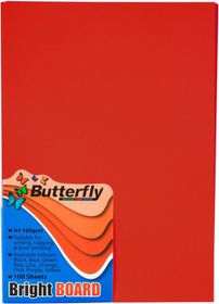 Butterfly A4 Bright Board 100s - Red