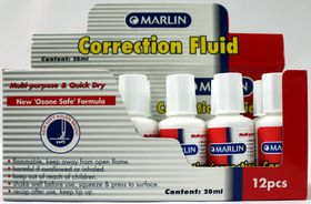 Marlin Correction Fluid Bottle 20ml with brush (Box of 12)