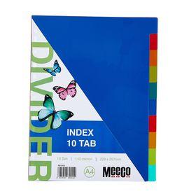 Meeco A4 10 Tab Bright Multi Colour Dividers