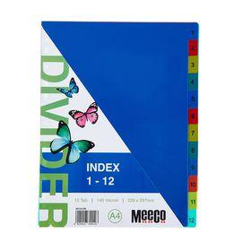 Meeco A4 12 Tab (1-12) Bright Multi Colour Dividers