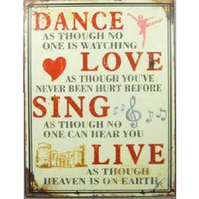Pamper Hamper Dance, Love, Sing, Live Metal Plaque