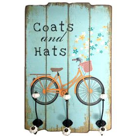 Pamper Hamper - Coats and Hats Wooden Plaque With 3 Hooks