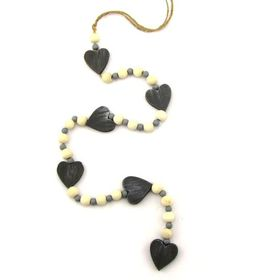 Pamper Hamper - String Of Grey Wooden Hearts and Beads Decoration