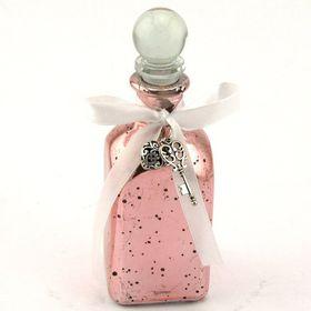 Pamper Hamper Pink Glass Bottle with Key Decoration