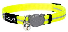 Rogz Alley Cat Reflective Breakaway Safeloc Buckle Collar - Dayglo Yellow
