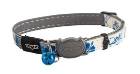 Rogz Glow Cat Reflective Glow-In-The-Dark Safeloc Breakaway Collar - Blue Floral Design
