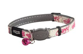 Rogz Glow Cat Reflective Glow-In-The-Dark Safeloc Breakaway Collar - Pink Butterflies Design