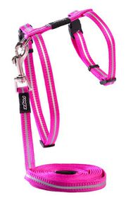 Rogz Alley Cat Reflective Breakaway Safeloc Buckle H-Harness & Lead Combination - Pink