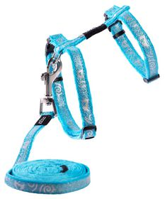 Rogz Sparkle Cat H-Harness & Lead Combination - Turquoise