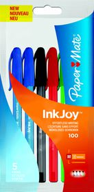 Paper Mate Inkjoy 100 Capped Ballpoint Pens - Standard Assorted (Pack of 5)