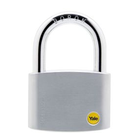 Yale - 70mm Brass Satin Chrome Padlock