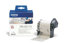 Brother DK-22113 Continuous Length Film Tape (62mm x 15.24m) - Black on Clear