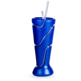 Lumoss - Tumbler With Wrap Around Straw - Metallic Blue