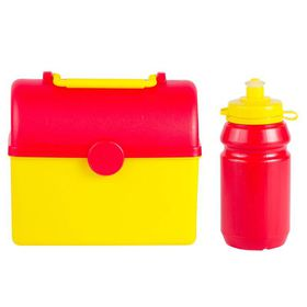 Lumoss - Treasure Chest Lunch BoxWith 300ml Bottle - Yellow and Red