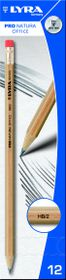 Lyra Pro Natura Office HB Graphite Pencils with Eraser Tip - Box of 12