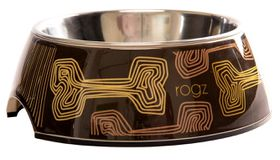 Rogz - 700ml 2-in-1 Bubble Dog Bowl - Mocha Bone Design