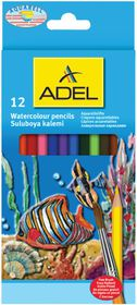 Adel 12 Watercolour Pencils with Free Brush
