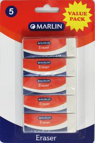 Marlin Vinyl Erasers - Blister of 5